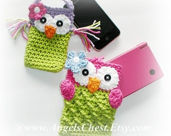 PDF Pattern Cute Crochet OWL Cell Phone Cozy and Nintendo DSi / 3DS / DS Lite Case Cozy Angels Boutique Design - No. 18