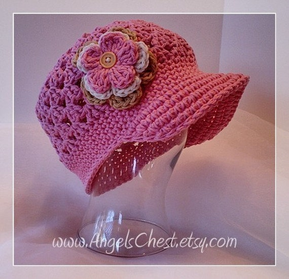 PDF Pattern Cute Beanie with Brim hat with detachable flowers SIZES 5T to ADULT No. 9