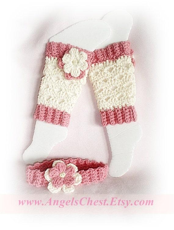 PDF Crochet Pattern Lovely Eggshell with Flowers LEG Warmers Size Newborn to Preteen Photo Prop No. 20