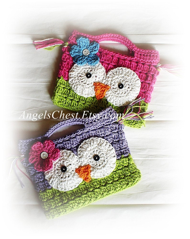 Crochet Satchel Bag Pattern : PDF PATTERN Cute Hand Crochet OWL Purse Handbag by AngelsChest