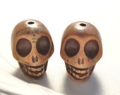 18mm Length Drilled Light Brown Dyed Turquoise Skulls 2pcs