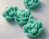 Flowers 20mm Sea Foam Green Resin Rose Flowers 2pcs