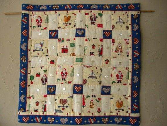Holiday wall hanging quilt with vintage buttons