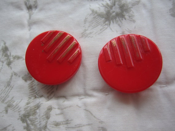 Vintage glass round red and gold striped shank buttons milk glass. Wholesale lot set of 2.