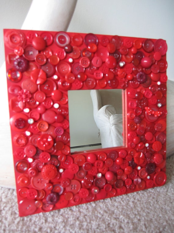 Handmade vintage button,crystal lipstick red wood mirror and frame - one of a kind