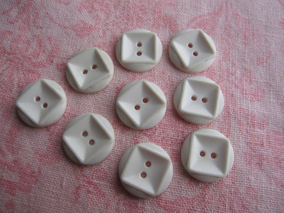 Vintage cool white round with square design plastic buttons. Wholesale lot of 9.