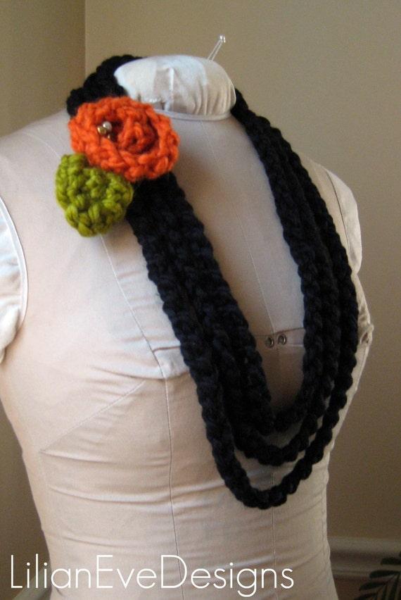 Chunky Black Fiber Necklace w Orange Spice Crochet Flower Clip- Made to Order