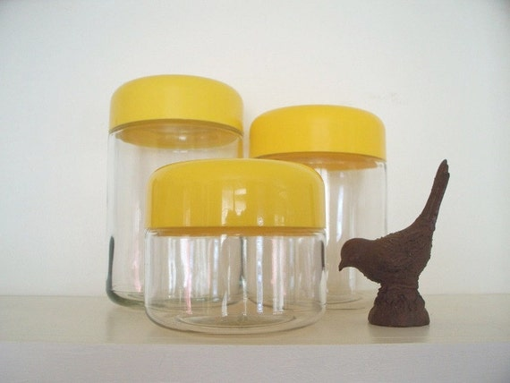 Heller Glass Canister Set Yellow