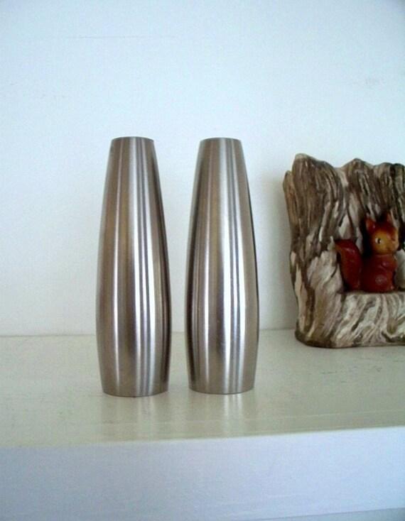 Mid Century Modern Kitchen Dansk Salt and Pepper Shakers Stainless Steel