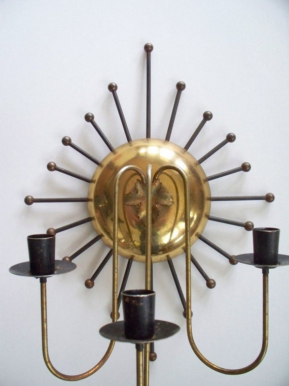 Mid Century Starburst Wall Sconce Candle Holder