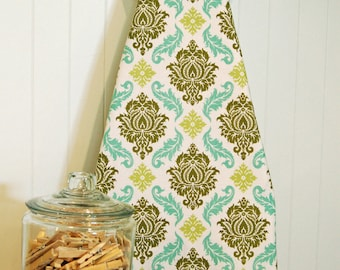 Designer Ironing Board Cover - Joel Dewberry's Aviary 2 Damask Dill