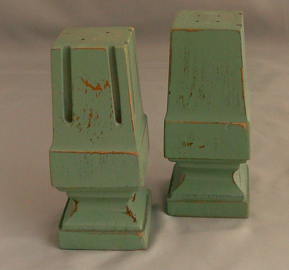 Sage Green Salt and Pepper Shakers Made From Old Table Parts