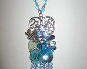My Blue Heart Beaded Collage Floral Necklace