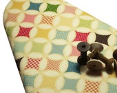 """ONLY TWO LEFT Padded Ironing Board Cover standard size 15"""" x 54"""" made with Riley Blake vintage quilt look fabric cream and vintage colors"""