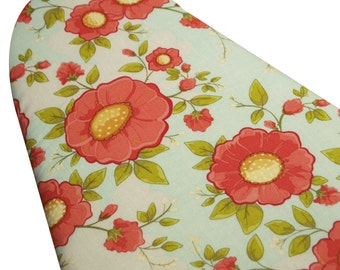 Ironing Board Cover ELASTIC BINDING made with Riley Blake Daydream fabric coral flowers on light blue/aqua backaground