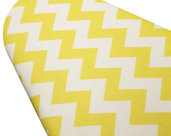 PADDED Ironing Board Cover made with Riley Blake Daffodil Yellow and White Chevron select the size