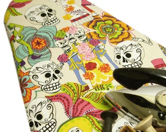 PADDED Ironing Board Cover Designer ironing board cover Custom cover rockabilly home skull Alexander Henry's Day of the Dead cream pick size