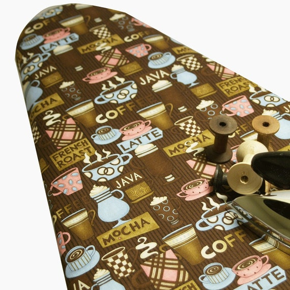 BOGO CLEARANCE SALE Mocha Java Coffee French Roast Latte brown pink and blue Ironing Board Cover