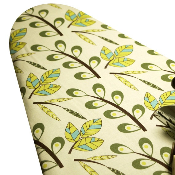 PADDED Ironing Board Cover made with Liz Scott Sugar Pop leaves in olive green chartruese and aqua turqoise blue