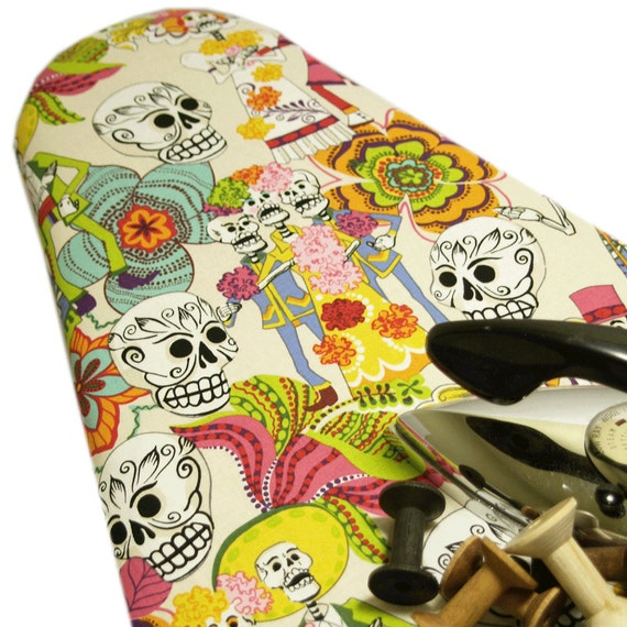 TWO LEFT PADDED Ironing Board Cover Designer ironing board Custom rockabilly skull Alexander Henry's Day of the Dead cream Standard size