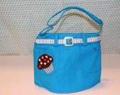 Aqua Blue Brown Cupcake Mini Skirt Purse