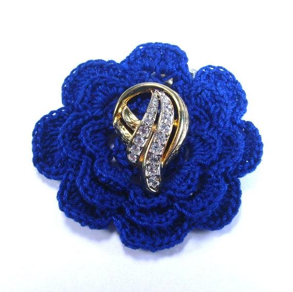 Handmade crocheted deep blue flower brooch pin antique vintage rhinestone jewelry