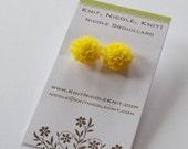 Sunshine Sunflower Yellow Chrysanthemum Dahlia Flower Earrings