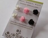 HALF PRICE Set of Three Plastic Resin 10 mm Rose Flower Earrings Black White and Pink