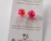 Sparkly Pink and Yellow Plastic Resin Rose Flower Earrings