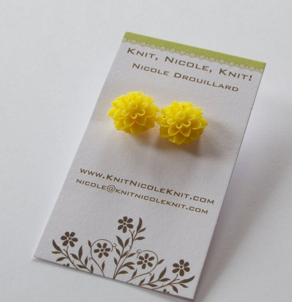 Sunshine Sunflower Yellow Chrysanthemum Dahlia Flower Earrings