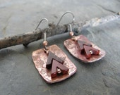Red Jasper Carved V Gemstone Earrings in Hammered Copper Rectangle