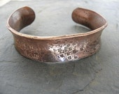 Rolled Edge Hammered Copper Bracelet..Torch Colored Primitive..Rustic