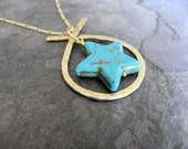 Hammered Brass Crossed Oval with Turquoise Howlite Pentagram