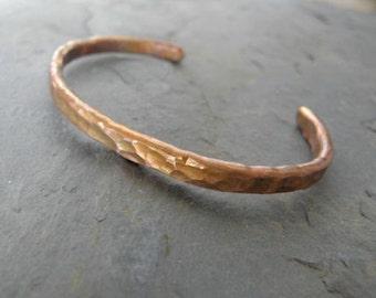 Hammered Copper Bracelet..Torch Colored..Primitive
