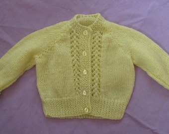Bright yellow childrens knitted cardigan