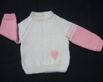 White and Pink Heart Jumper