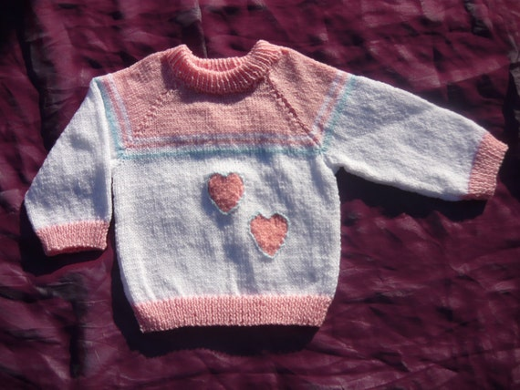 Girls Pink and White Jumper with Heart Motif