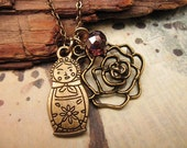 Matryoshka Doll and Rose Charm Necklace with crystal accent