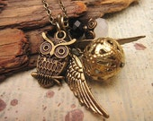 Snitch Necklace, Owl Necklace, Wings Necklace, Friendship Necklace, Gift Idea, Charm Necklace, Bridesmaid Gift, Best Friend Gift