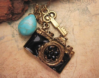 Camera Necklace with turquoise stone and key accent