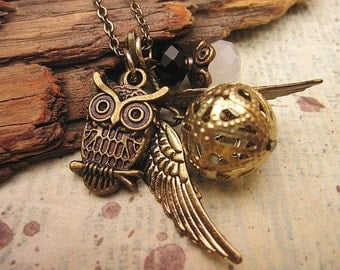 Snitch Necklace with crystals and owl accent