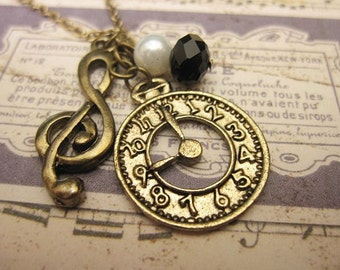 Music Necklace, G-Clef Necklace, Watch Necklace, Friendship Necklace, Gift Idea, Charm Necklace, Bridesmaid Gift, Best Friend Gift