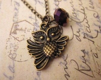 ON SALE - Owl Necklace, Bronze Owl, Friedship Necklace, Gift Ideas, Charm Necklace
