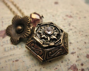 Hexagon Locket Necklace with flower and crystal accent