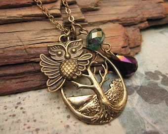 Owl Necklace, Tree Necklace, Friendship Necklace, Gift Idea, Handmade Necklace, Bridesmaid Gift, Charm Necklace, Best Friend Gift