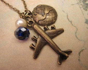 Airplane Necklace, Globe Necklace, Travel Necklace, Best Friend Gift, Gift Ideas