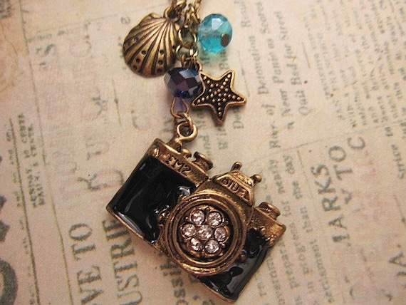 Picture the Sea. a vintage style camera necklace