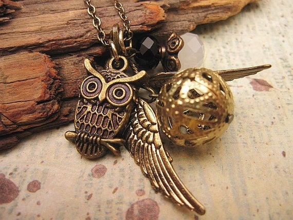 Snitch Necklace with Owl Charm and crystals