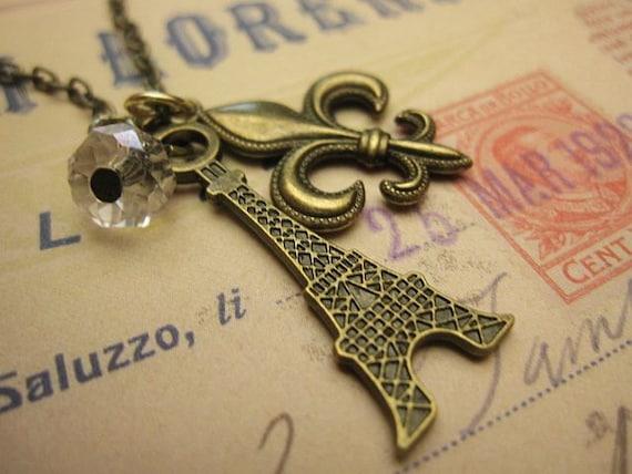 Paris Necklace, Eiffel Necklace, Fleur de Liz Charm, Gift Ideas, Friendship Necklace, Jewelry