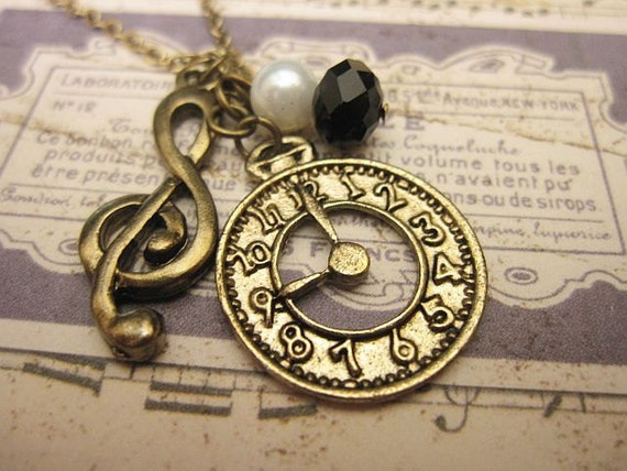 Time for Music Necklace, G-Clef Necklace, Watch Necklace, Watch Charm, Charm Necklace, Gift Ideas, Friendship Necklace